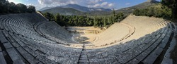 Wideangle panorama of famous ancient Epidauros amphitheater located in Greece near Lighourio city