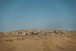 wideangle panorama photo on the ghost town of Kolmannskuppe in Namibia
