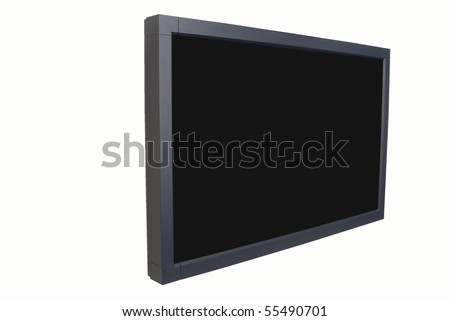 Widescreen digital monitor for entertainment and video conferencing against white - stock photo