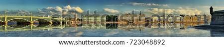 Widescreen summer panorama of Trinity bridge, Palace embankment in Saint-Petersburg