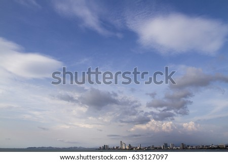 widest viewpoint of pattaya with sea, boat and bluesky.Pattaya is good destination in thailand #633127097