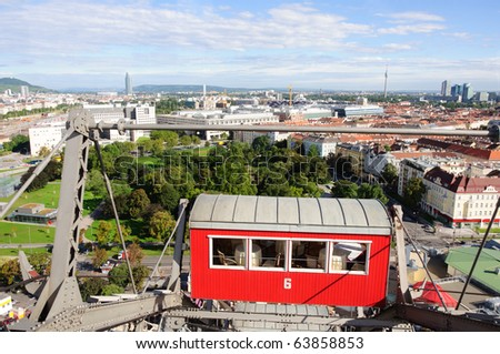 Wiener Riesenrad in Prater - oldest and biggest ferris wheel in Austria. Symbol of Vienna city