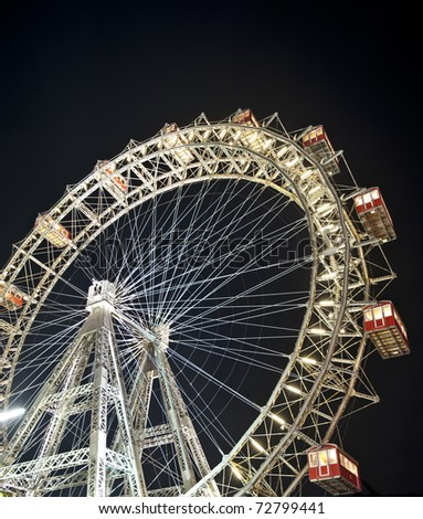 Wiener Riesenrad in Prater - oldest and biggest ferris wheel in Austria. Symbol of Vienna city at night