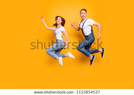 Wife husband teen age legs fall sale shopping discount people person concept. Profile full length photo portrait of cheerful funny funky glad nice sweet spouses in denim outfit isolated background #1155854137