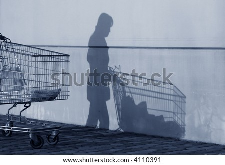 Wife's shadow after shopping with her trolley