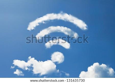 wifi cloud shape - stock photo
