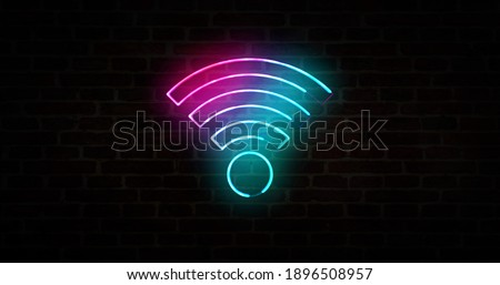 Wifi hotspot symbol, wi-fi internet zone neon sign on brick wall, free connection technology and 5G network concept. Abstract 3d rendering illustration. Сток-фото ©