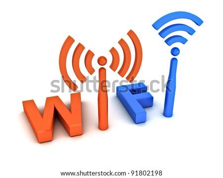 Wifi icon concept on white background