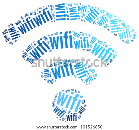 WiFi icon made from word illustrations isolated on white.