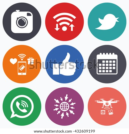 Wifi, mobile payments and drones icons. Hipster photo camera icon. Like and Call speech bubble sign. Bird symbol. Social media icons. Calendar symbol. #432609199