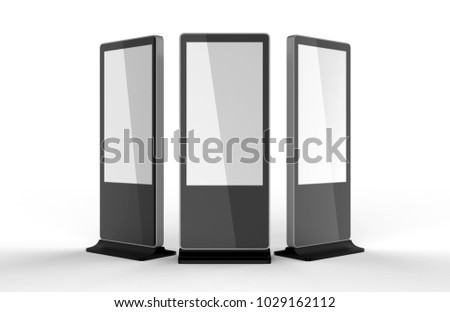 WiFi network Multi touch floor standing LCD ad display digital signage display touch monitor. 3d render illustration.