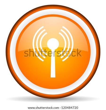 wifi orange glossy circle icon on white background
