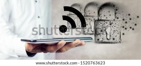 WiFi password lock, protection, security icon #1520763623