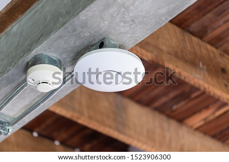 Wifi router or Wireless Access Point Omni type setup at ceiling for Internet connection space.