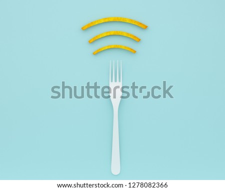 Wifi symbol creative idea layout made of fork with french fries on blue color background. minimal food idea and Internet technology /networking concept #1278082366