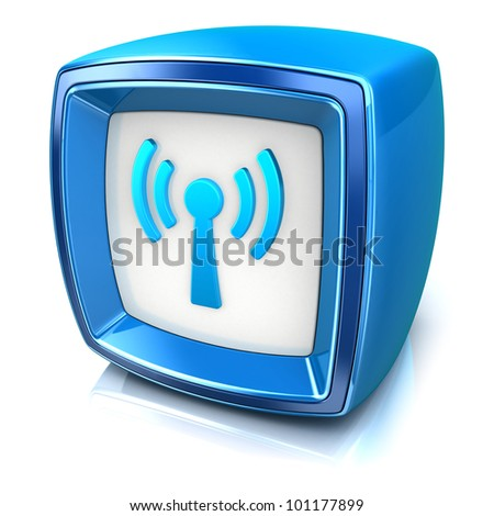 wifi symbol on blue badge icon on white background. 3d render