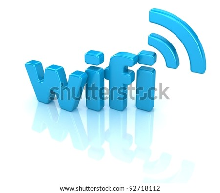 wifi text 3d isolated over white background