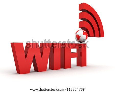 WiFi Thechnology Concept with Red Earth Globe