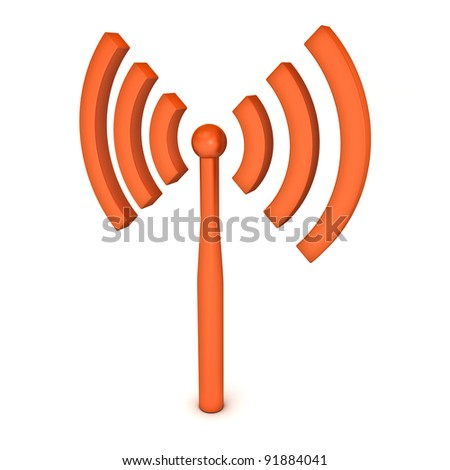 Wifi wireless icon isolated on white background - stock photo