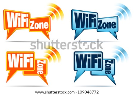 WiFi Zone - Speech bubbles with signal for WiFi Connection - Raster Version