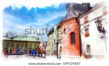 Wikarówka of Cathedral Mariacki, watercolor illustration. Zdjęcia stock ©