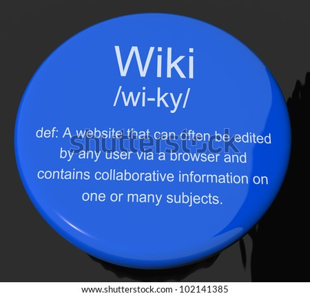 Wiki Definition Button Shows Online Collaborative Community Encyclopedia