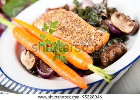 Wild Alaskan Salmon Grilled with Mustard and Served on Wilted Swiss Chard, Mushrooms