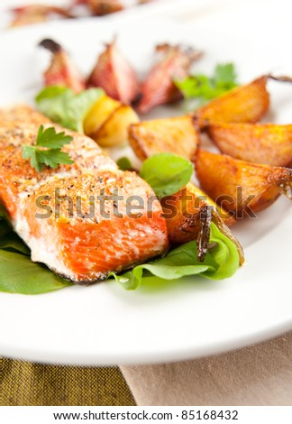 Wild Alaskan Sockeye Salmon Baked with Various Root Vegetables