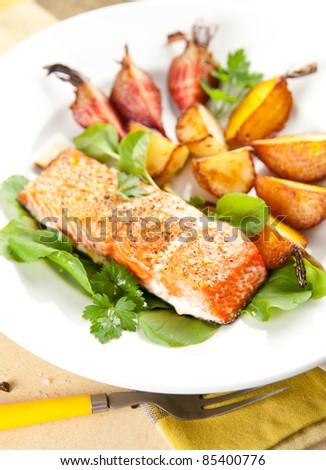 Wild Alaskan Sockeye Salmon Baked with Various Root Vegetables