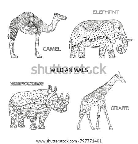 wild animal. design zentangle....
