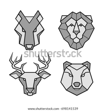 73455e3d5 Wild animals geometric icons of wolf, lion,bear and deer. Animal heads  vector