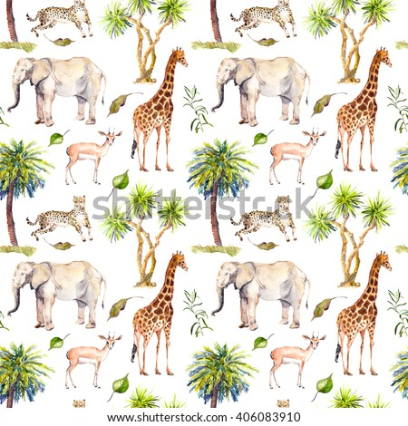 Wild animals (giraffe, elephant, cheetah, antelope) in savannah with palm trees. Repeating background. Watercolor