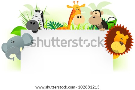 Wild Animals Letterhead Background/ Illustration of cute cartoon wild animals from african savannah, including lion,  elephant,giraffe, monkey and zebra with jungle background. For use as letterhead
