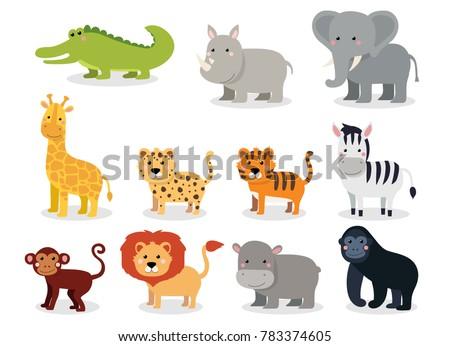 Wild animals set in flat style isolated on white background, illustration. Cute cartoon animals collection: crocodile, rhinoceros, elephant, giraffe, leopard, tiger, zebra, monkey, lion, hippo