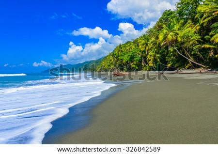 Wild beach at Corcovado Rainforest in Costa Rica #326842589
