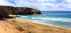 Wild beautiful unspoiled beaches of Fuerteventura. La Pared -popular for surfing. Canary islands