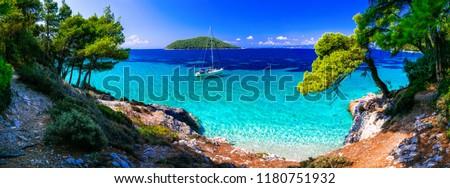 Wild beauty and best beaches of Skopelos island. Kastani beach.  Stockfoto ©