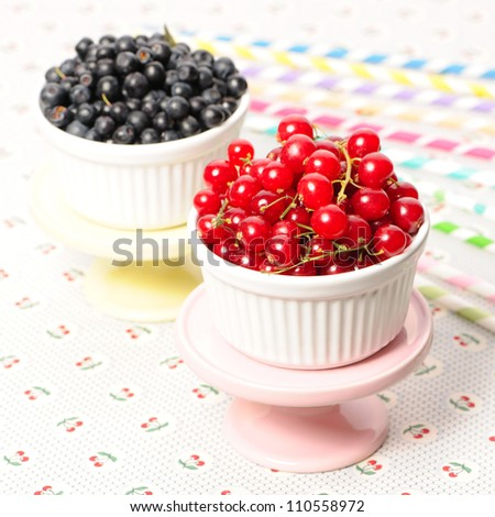 Wild berries in bowls - blueberry, redcurrant - stock photo
