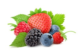 wild berries mix, strawberry, raspberry, blueberry, blackberry, isolated on white background, clipping path, full depth of field