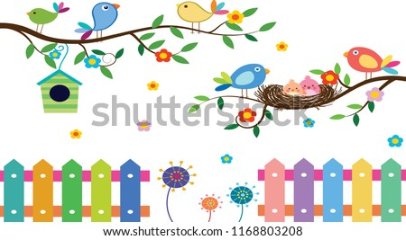 wild birds background colorful decoration