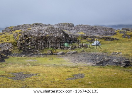 Camping in the wilderness of Iceland Images and Stock Photos
