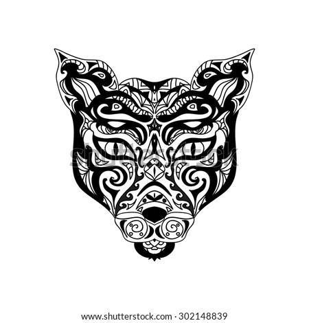 Wild cat head tattoo
