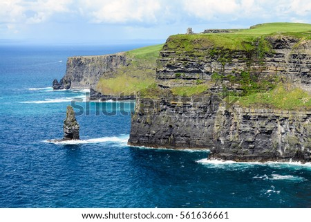 Wild Cliffs of Moher and O'Brien's tower, Ireland