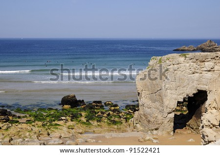 "Wild Coast of the peninsula of Quiberon with big hole in the cliff (""Trou du souffleur"") in the Morbihan department in Brittany in north-western France"