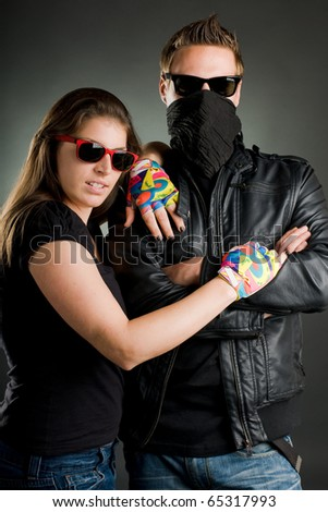 wild couple with sunglasses and leather jacket