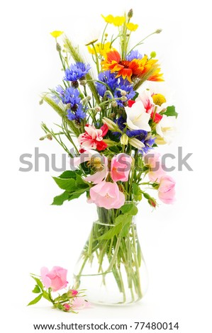 Wild flowers bouquet in vase