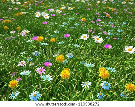 wild flowers on the meadow at spring time - 3d render