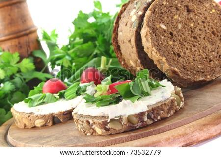 Wild garlic Bread with  Cream cheese, wild garlic and radishes