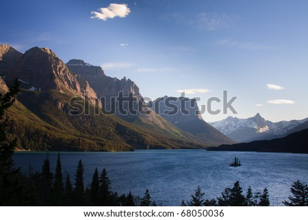 Wild Goose Island sits in the middle of a windy Saint Mary Lake, Glacier National Park, Montana.