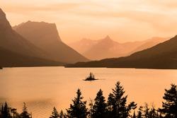Wild Goose Islands in sunset. Saint Mary Lake, Glacier National Park, Montana